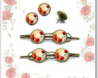 Hair clips + studs poppy flower Jewelryset Sho-C16-002