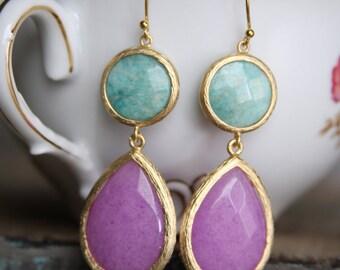 Color Block Double Stone Bridesmaid Drop Earrings