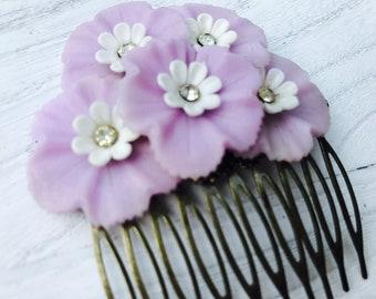 Vintage Purple Spring Floral Collage Hair Comb OOAK