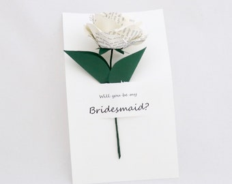 Book Flower - Will You Be My Bridesmaid Paper Flower - Customized to Any Color and Book of Your Choice