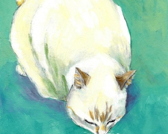art print cat painting - The Kiss Between A Cat And Fish - fine art print wall decor, cat lover gift for him/her, A3 print A4, 8x10, 6x8