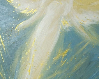 """ArT<3 ANGEL ART POSTER, Guardian angel painting """"In your embrace"""" Wall Decor, also for frame,Angel Wings Gift,Baptism,Wedding,Birthday"""