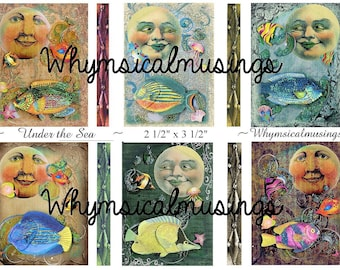 Digital Collage Sheet~ Under the Sea~ ATC~ Altered Art~ Mixed Media~ Instant Download