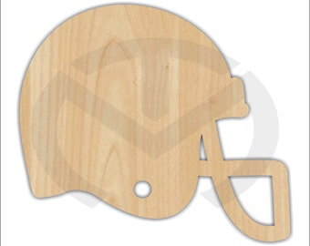 Unfinished Wood Football Helmet Shape Laser Cutout, Wreath Accent, Ready to Paint and Personalize to your Favorite Team!
