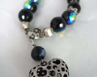 Black and Silver Crystal Beads Bracelet with Silver Heart Charm - Elastic - Facetted Crystal - Glass, Acrylic, Metal - Fashion Jewelry