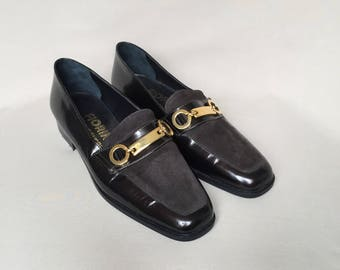 Vintage loafers / square toe / shoes size 5 / leather loafers / suede loafers / low heels / womens loafers / brown loafers