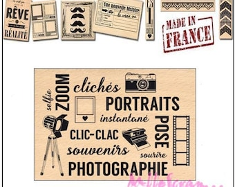 Stamp wood Miscellany Design, made in France, scrapbooking