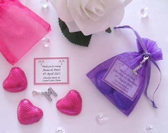 Personalised Wedding Favours - 3 Chocolate Hearts and Rhinestone Letter Charm