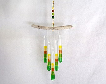 Green, Amber, Yellow, Glass Wind Chime with Oregon Driftwood, Glass Chimes,  Harvest Colors, Autumn Colors, Fall Colors