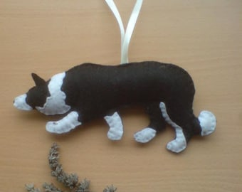 Felt Border Collie silhouette...plush sheepdog , embroidered with your choice of design filled with Soil Association certified organic wool
