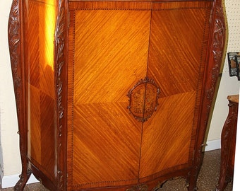 Absolutely Breath Taking French Bombe Satinwood Marble Top Dresser Armoire C1920