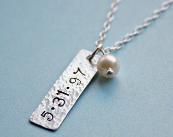 Keepsake Tag Necklace - Sterling Silver Tag and White Pearl Dangle - Personalized with Name, Initials or Date of your Choice
