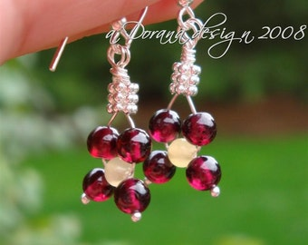 Strawberry Wine Collection - myBouquet Beaded Floral Design - Garnet, Aragonite & Sterling Silver Earrings - Handmade by DORANA
