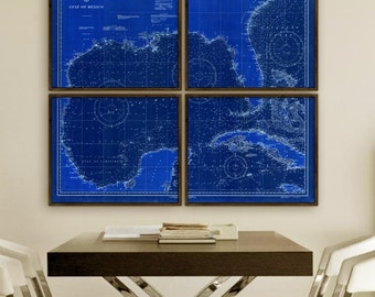 """Gulf of Mexico map 1928, Vintage map of Gulf of Mexico, 6 sizes up to 72x60"""" (180x150 cm) in 1 or 4 parts - Limited Edition of 100"""