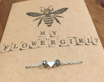 Will you bee my flowergirl charm bracelet - silver, dusky blue with heart