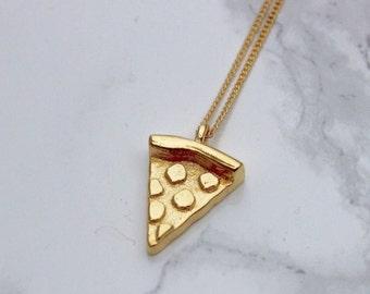 Pizza Necklace, Pizza Jewelry, Pizza Emoji Necklace, 3D Pizza Jewelry, Pizza, 24k Gold pizza, Pizza Slice, Silver Pizza Slice