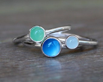 Sweet Life Stacking Rings, Sterling Silver, Gemstone, Blue Chalcedony, Green Chrysoprase, Aquamarine, Stackable Gemstone Rings, Set of Three