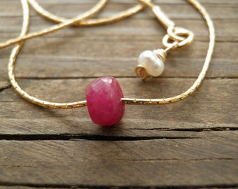 Ruby Necklace, July Birthstone, Genuine Ruby, Real Ruby pendant, Gold Ruby Minimalist Necklace, Dainty Necklace, Bridal Necklace, Ruby