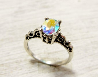 Mystic Topaz Engagement Ring, Topaz Solitaire Ring, Sterling Silver Topaz Ring, Rainbow Gemstone