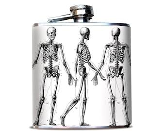 Skeleton Flask, Unique Bourbon Flask, Antique Skeleton Drawing, Hip Flask for Best Man, Gift for nurse, gift for Medical Student