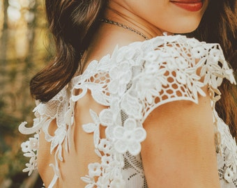 White Lace Dress/Open Back Lace Dress/Upcycled lace dress/one of a kind dress/short  lace dress/SizeXS dress/Alternative Wedding Dress