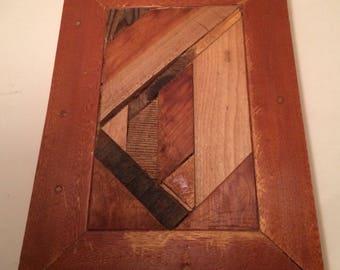 Sentimental Destruction: abstract scrap wood wall quilt