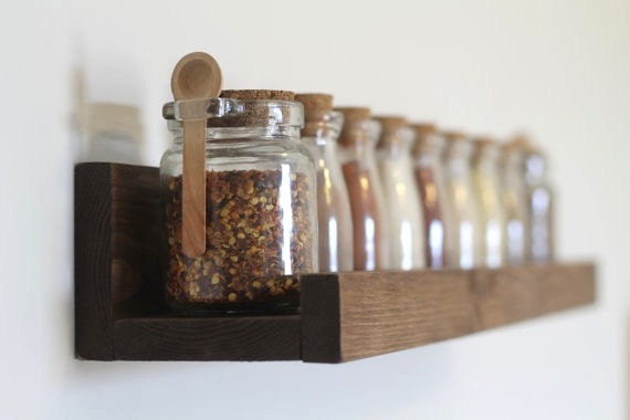 Rustic Wooden Spice Rack Ledge Shelf, Ledge Shelves, Wooden Rack, Rustic Home Decor, Picture Ledge Shelves, Kitchen Rack, Farmhouse Decor