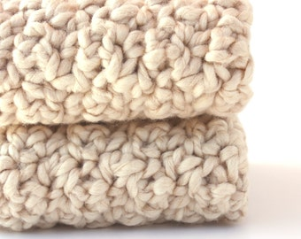Organic Cotton Crochet Washcloths - Natural Ecru