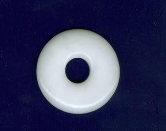 White Jade Focal, 40mm White Jade Pi Gemstone Donut Pendant Focal Bead 2111M