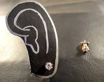 """CZ""""Cubic Zirconia"""" 6mm  Rose Gold Plated Magnetic earring(Look like pierce)"""