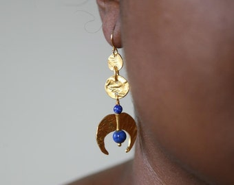 Reticulated Gold Lapis Fang  Earrings