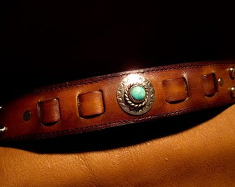 """Custom leather wrist cuff 1-1/2"""" wide with Silver and Turquoise."""