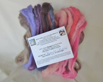 1.0 oz. Alpaca Roving - Hand Dyed - 10 Shades of Pink & Purple - Felting Variety Pack