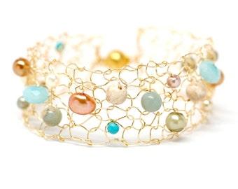 Summer bracelet Colorful bracelet Skinny cuff bracelet Dainty bracelets Beaded bracelets Delicate Bracelet Coral Turquoise Gold Jewelry