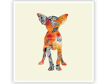 Miss Chihuahua by Iveta Abolina -  Floral Illustration Print