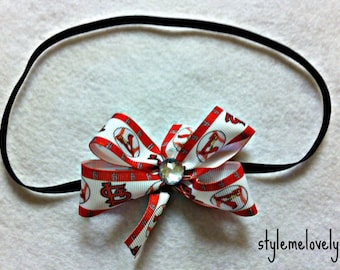 St Louis Cardinals Baby Girl Boutique Bow Elastic Headband