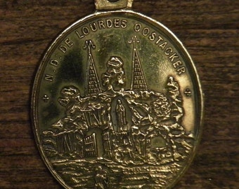 Antique bronze medal charm pendant our holy lady of Lourdes in Oostacker