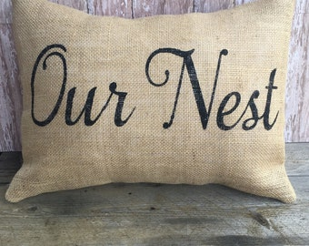Burlap Our Nest Pillow Cover 12x16