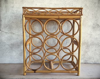 Rattan Wine Rack Tabletop 9 Bottle with Glass Holder Shelf, Jungalow Style, Wine Lover Gift