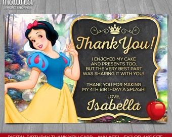 Snow White thank you card - Disney Snow White Birthday Greeting Printed or Printable Card - Disney Princess Snow White Party