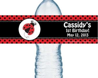 Ladybug water bottle labels, birthday labels, lady bug labels, water bottle label.