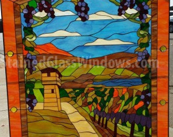 Tuscany Vineyard  Stained Glass Window Panel (We do custom work! Please email me for a quick quote)