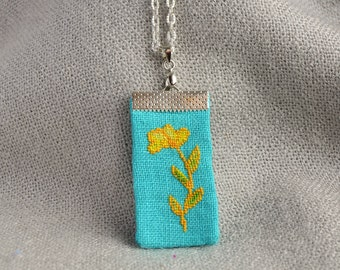 Flower pendant Cross stitch jewelry Fabric necklace Turquoise jewelry Floral necklace Linen jewelry Nature pendant Women gift Gift for mom