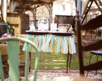 Mint green seafoam and gold hand dyed Fabric garland - Wedding & Party decor, photo backdrop.