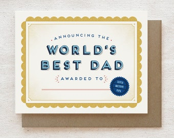 Funny Father's Day Card, Dad Birthday Card, Birthday Card for Dad, Happy Father's Day, Card for Dad, Funny Father Card - World's Best Dad