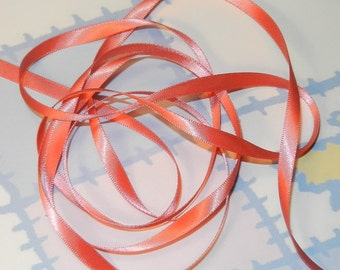 WATERMELON DouBLe FaCeD SaTiN RiBBoN, Polyester 1/4 inch wide, 5 Yards