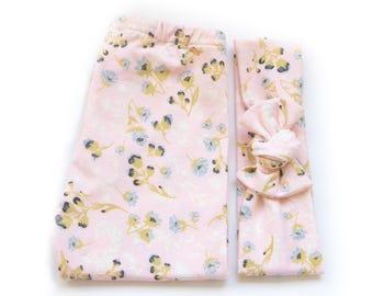 Legging n' Bow Tie Organic Handmade Cotton Set | Pink Flowers.