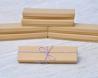 10 Kraft 8x2x1 Gift Jewelry Necklace Bracelet Boxes with Cotton Fill Natural Craft Box