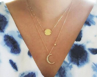 18k Vermeil Sun and Crescent Moon Necklace, layering Gold Moon star necklace, I love you to the moon and back, gift for mom, muse411