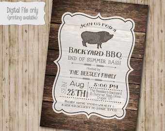 BBQ Invitation, Family BBQ, Family Reunion, Neighborhood Barbeque, DIY, Rustic, Pig, Wood, Typography - Digital Print File